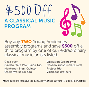 $500 off a Young Audiences classical music program