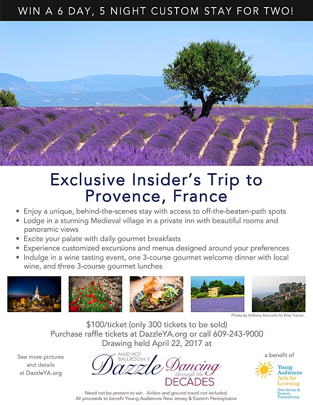 Purchase raffle tickets to win an insider's trip to Provence France!
